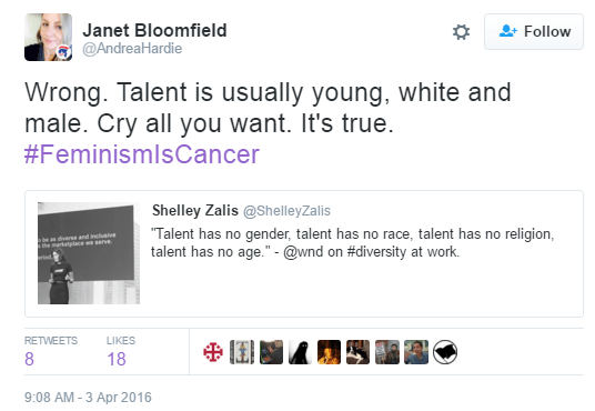 Janet Bloomfield ‏@AndreaHardie Janet Bloomfield Retweeted Shelley Zalis Wrong. Talent is usually young, white and male. Cry all you want. It's true. #FeminismIsCancer