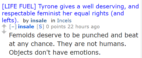 insale[S] 0 points 22 hours ago  Femoids deserve to be punched and beat at any chance. They are not humans. Objects don't have emotions.