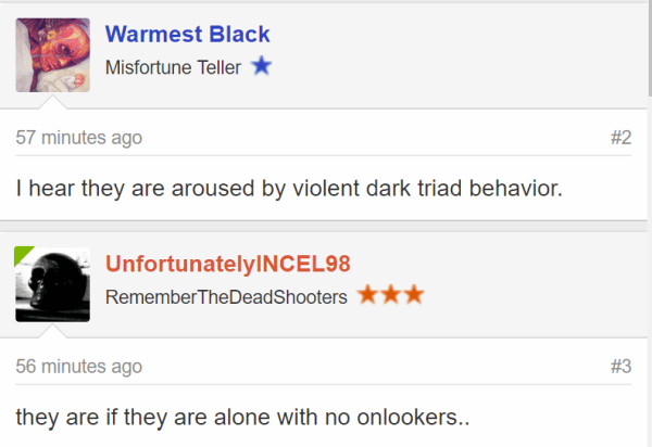 Warmest Black Misfortune Teller - Joined:Nov 9, 2017 Messages:536 56 minutes ago#2 I hear they are aroused by violent dark triad behavior. UnfortunatelyINCEL98 UnfortunatelyINCEL98 RememberTheDeadShooters - Joined:Feb 27, 2018 Messages:4,718 55 minutes ago#3 they are if they are alone with no onlookers..