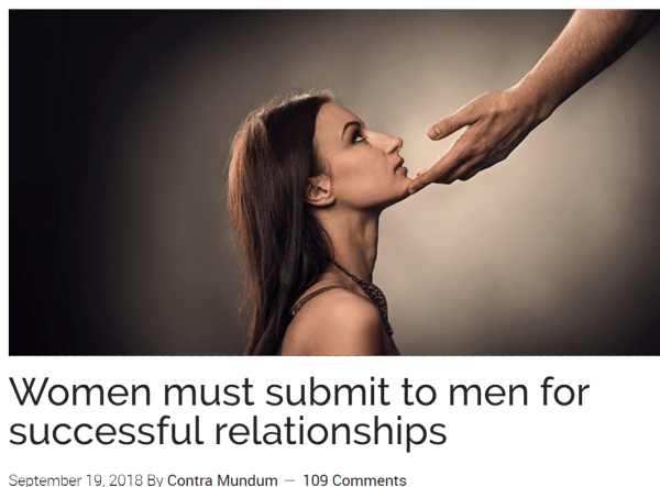 Women must submit to men for successful relationships September 19, 2018 By Contra Mundum 109 Comments