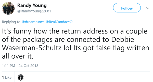 Randy Young  @RandyYoung22681 Follow Follow @RandyYoung22681 More Replying to @dreamrunes @RealCandaceO It's funny how the return address on a couple of the packages are connected to Debbie Waserman-Schultz lol Its got false flag written all over it.