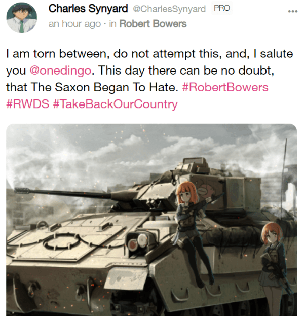 Charles Synyard @CharlesSynyard PRO an hour ago · in Robert Bowers I am torn between, do not attempt this, and, I salute you @onedingo. This day there can be no doubt, that The Saxon Began To Hate. #RobertBowers #RWDS #TakeBackOurCountry