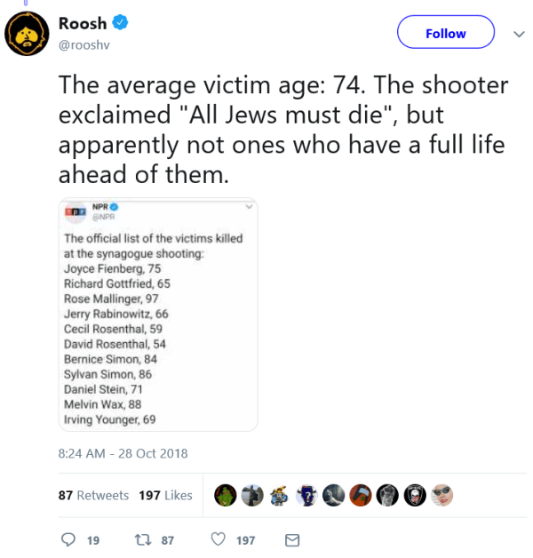 "Roosh ‏ Verified account @rooshv Follow Follow @rooshv More The average victim age: 74. The shooter exclaimed ""All Jews must die"", but apparently not ones who have a full life ahead of them."