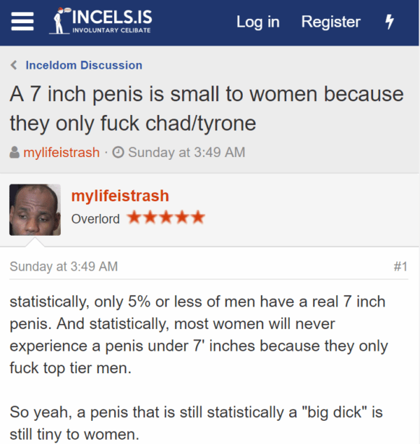 """A 7 inch penis is small to women because they only fuck chad/tyrone Thread startermylifeistrash Start dateSunday at 3:49 AM mylifeistrash mylifeistrash Overlord - Sunday at 3:49 AM#1 statistically, only 5% or less of men have a real 7 inch penis. And statistically, most women will never experience a penis under 7' inches because they only fuck top tier men. So yeah, a penis that is still statistically a """"big dick"""" is still tiny to women."""
