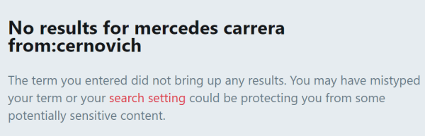 No results for mercedes carrera from:cernovich