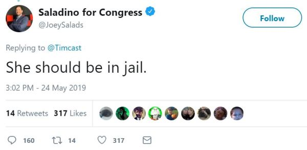Saladino for Congress ‏ Verified account   @JoeySalads  She should be in jail.