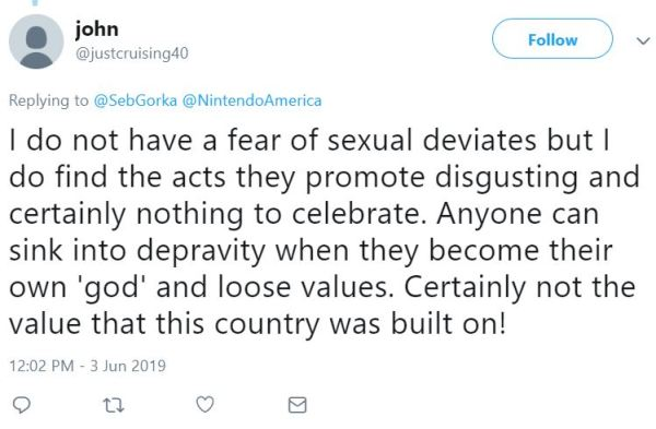 I do not have a fear of sexual deviates but I do find the acts they promote disgusting and certainly nothing to celebrate. Anyone can sink into depravity when they become their own 'god' and loose values. Certainly not the value that this country was built on!
