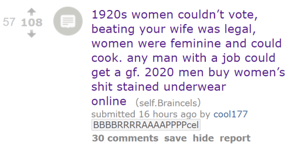 1920s women couldn't vote, beating your wife was legal, women were feminine and could cook. any man with a job could get a gf. 2020 men buy women's shit stained underwear online
