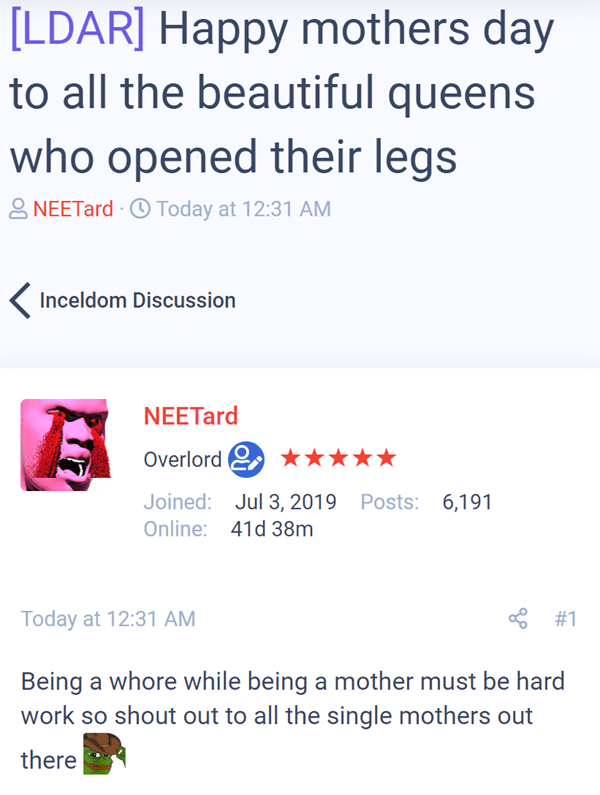[LDAR] Happy mothers day to all the beautiful queens who opened their legs  Thread starter NEETard  #1 Being a whore while being a mother must be hard work so shout out to all the single mothers out there