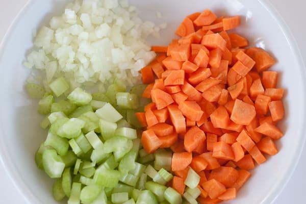 Gemüse für die Füllung