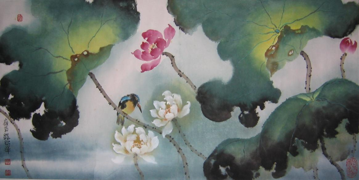 Bird with Lotus
