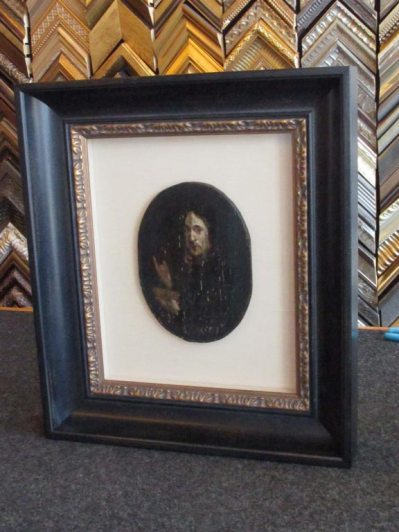 Image - Framing on an original 17th century Dutch painting on wood, recessed on a linen matting