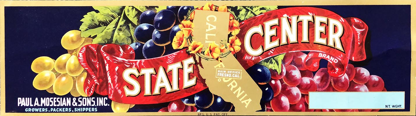 25 State Center Brand Grape Crate Labels Wholesale
