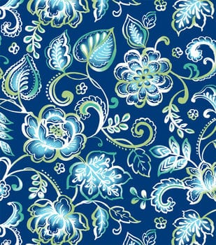 Blue Floral Flannel Swatch