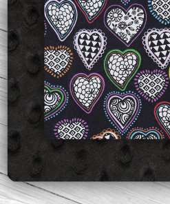 custom weighted blanket heart/black combo
