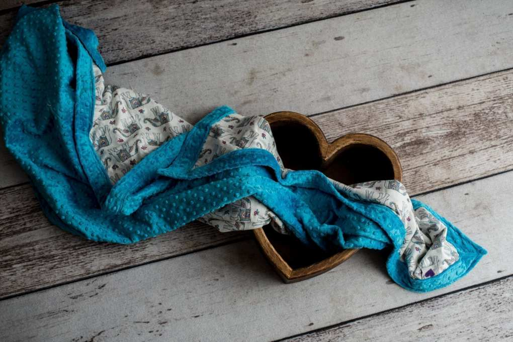 Teal & Elephant Weighted Blanket in Wood Heart