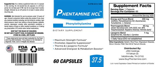 Phentamine HCL 37.5 Ingredients