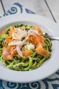 Creamy Avocado Cucumber Noodles with Smoked Salmon