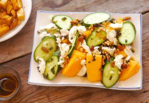 Cucumber Melon Salad with Fresh Mozzarella and Fig Vinaigrette