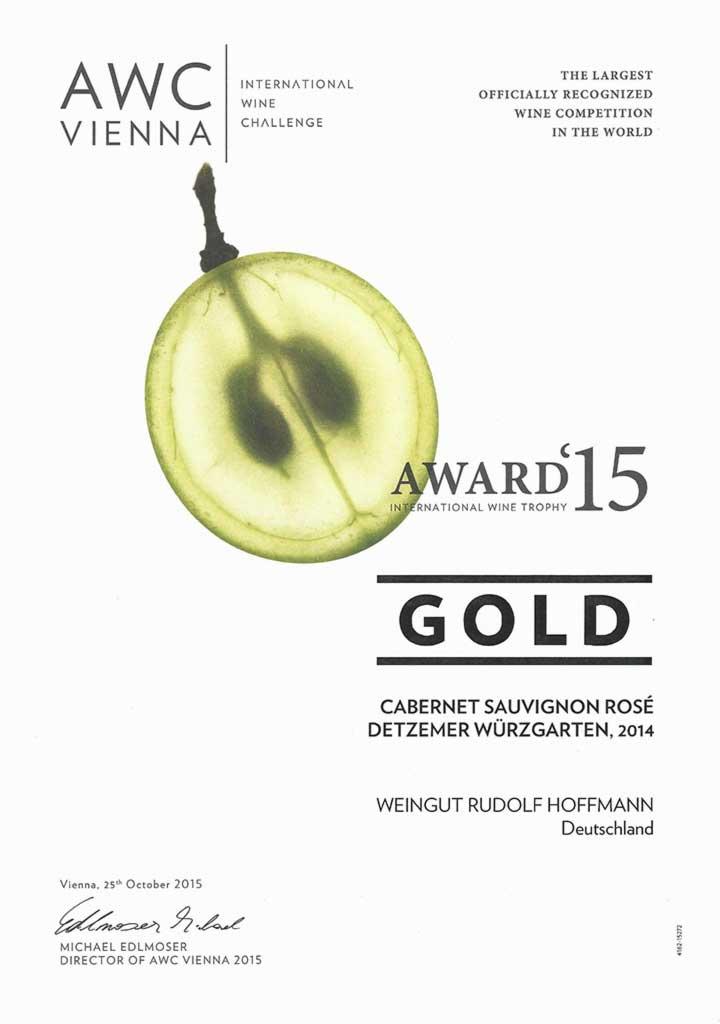 AWC Gold Award 2015 for Cabernet Sauvignon Rosé 2014