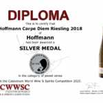 CWWSC Silbermedaille für den Carpe Diem Riesling 2018