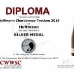 CWWSC Silbermedaille für den Chardonnay Trocken 2018