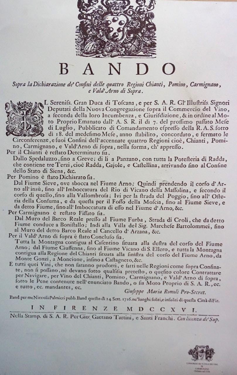 Das Weingesetz von 1716 in der Originalansicht: Drei der hierin genannten Gebiete werden wir nun 300 Jahre später besuchen.
