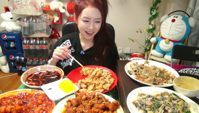 A Mukbang BJ with her dinner spread