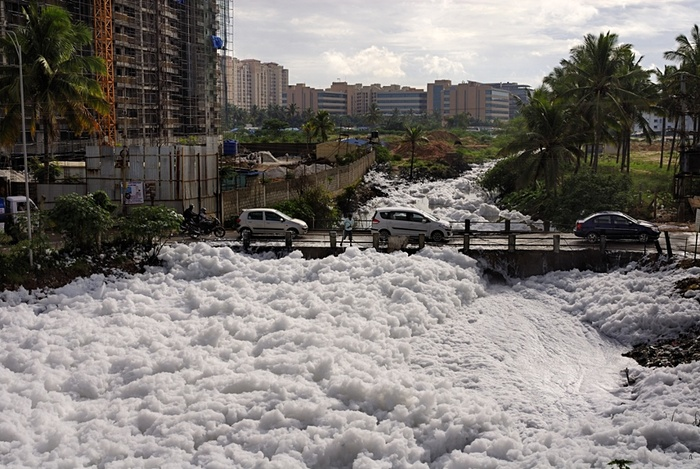 Toxic foam along the entire river