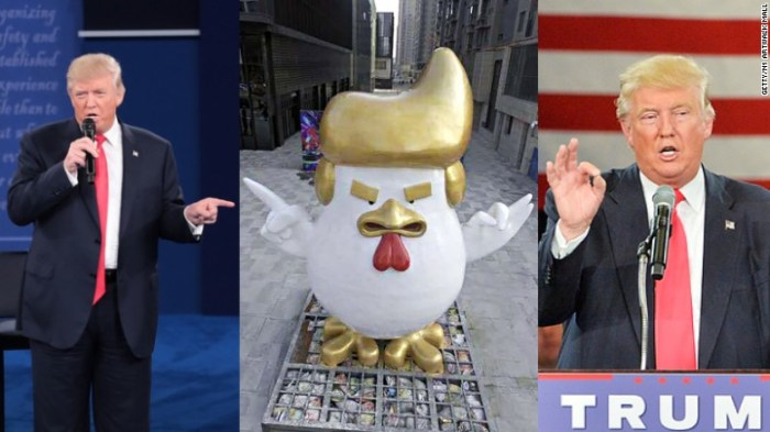 Donald Trump Giant Rooster Statue China