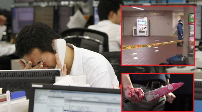 japanese man stabs himself with a knife to get out of work