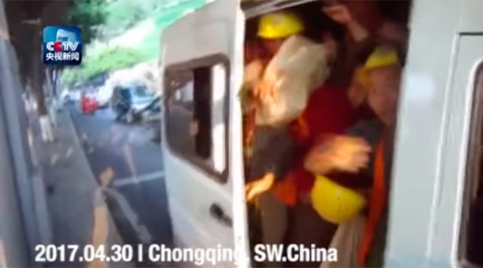 carpool china 40 construction workers in one van