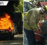 hong kong taxi passenger set fire