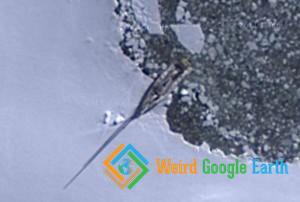 Boat on Icy Shore, South Atlantic Ocean