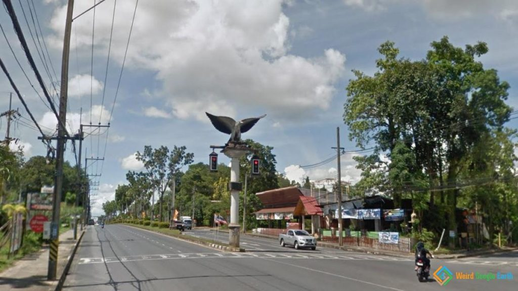 Traffic Lights with Eagle Statue, Krabi, Thailand