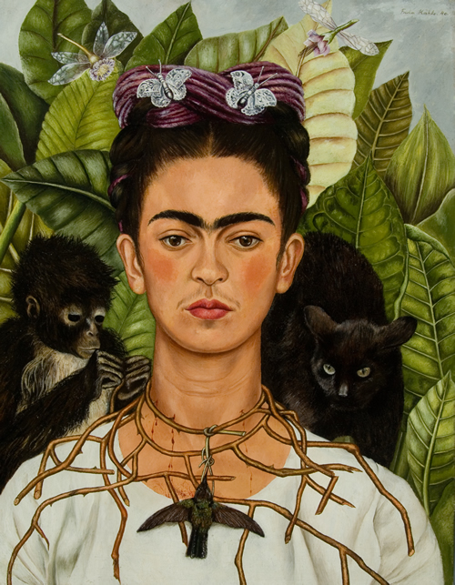 Frida Kahlo, Self-Portrait with Thorn Necklace and Hummingbird, 1940. Harry Ransom Center, The University of Texas at Austin. © 2014 Banco de México Diego Rivera Frida Kahlo Museums Trust, Mexico, D.F. / Artists Rights Society (ARS), New York.