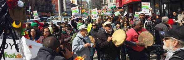 One of the many community rallies against FreshDirect moving into the community.