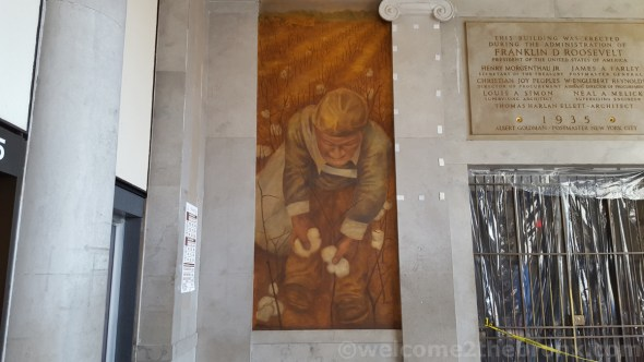 One of the 3 fully restored Ben Shahn murals at the Bronx General Post Office—10 more to go.