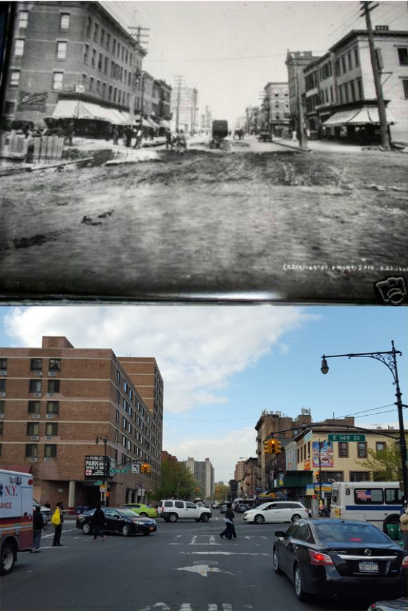 Morris Avenue at 149th Street  looking north into Melrose.  The top picture was taken circa 1903 (credit unknown) and the bottom image was taken by Welcome2TheBronx in 2015. As you can see, all the buildings on the right-hand side still exist up until 152nd Street. Beyond that now is Alfred E. Smith HS's athletic field, Melrose Houses and Andrew Jackson Houses of NYCHA.   On the left hand side you see the tenements where Aniello Conte once lived and below they have been replaced with Michelangelo Apartments, Christopher Court Apartments, and Maria Lopez Plaza with Concourse Plaza Apartments looming in the distance.