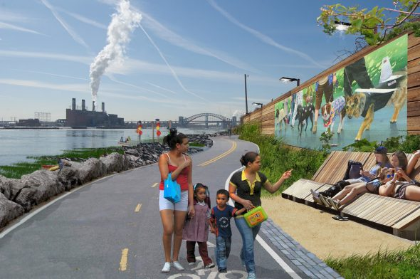 Access via the 132nd Street Pier would provide residents with direct access to our waterfront, both passive and interactive via a canoe launch./ Rendering courtesy of NYRP