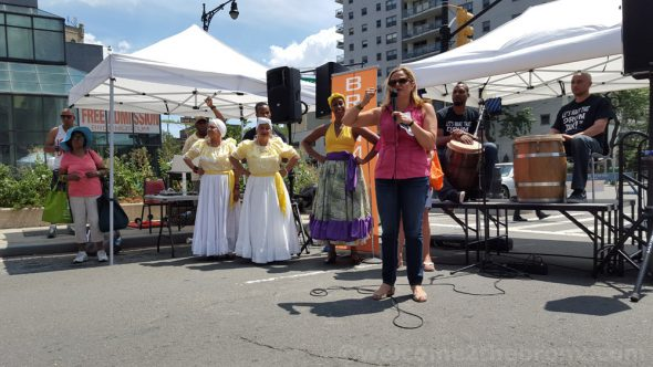 NYC Council Speaker Melissa Mark-Viverito spoke of the importance of events such as Boogie on the Boulevard as community building and then called on Department of Transportation, Polly Trottenberg to explore on getting the event extended to the end of the Concourse at Mosholu Parkway like it was years ago under former Bronx Borough President Fernando Ferrer who started the program of Car Free Sundays—Boogie's predecessor.