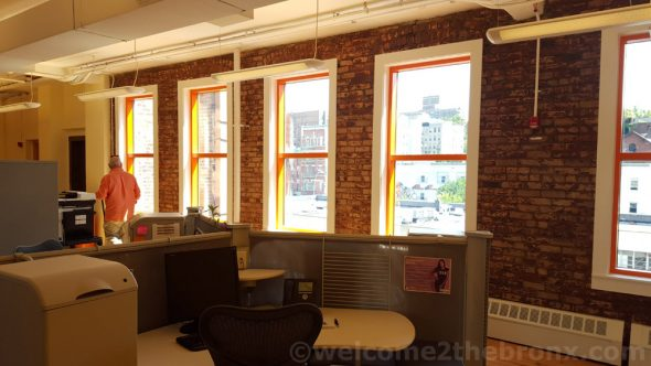 Sleek and modern work spaces for staff with tons of natural light flooding the floors as BOOM!Health opened all the windows which were sealed shut by Brook House Furniture.