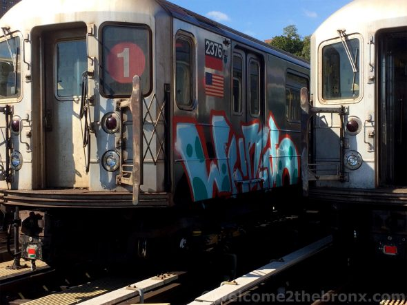 1 train in The Bronx recently bombed by graffiti artists/ Image ©welcome2thebronx, reproduction or distribution is strictly prohibited without consent