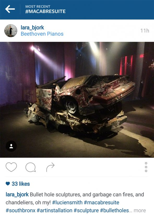 Bullet-ridden cars used as props for the Macabre Suite