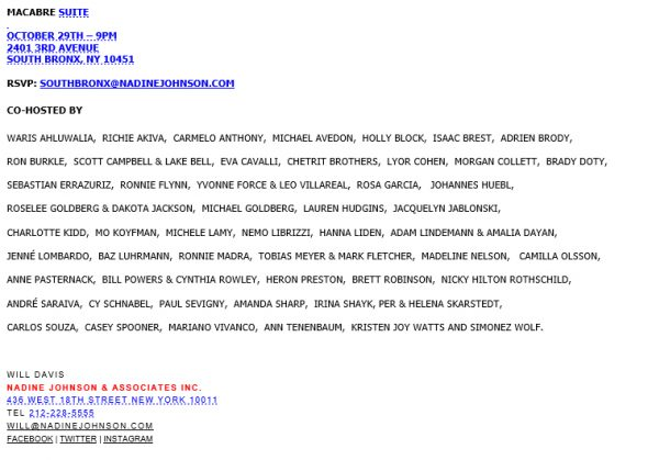 Email invitation showing all the co-hosts of the events which including several surprising names.