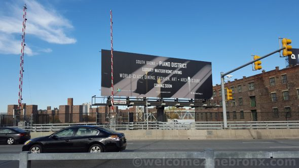 Piano District billboard didn't last long without being defaced.
