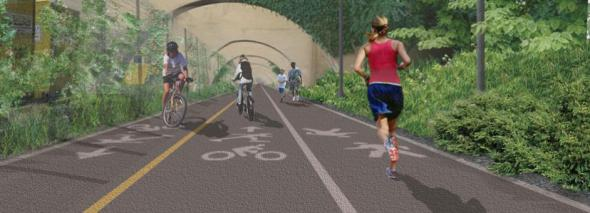 Rendering of the pathway to the Randall's Island Connector (image via NYCEDC)
