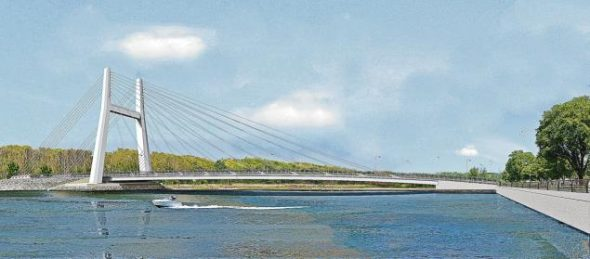 Original and controversial design of the replacement City Island Bridge towering at 160 feet.