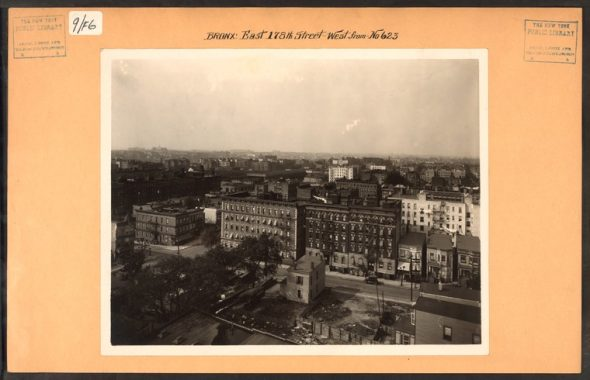 """E 178th Street and Hughes Avenue in Tremont (Date Unknown) Image Credit: Irma and Paul Milstein Division of United States History, Local History and Genealogy, The New York Public Library. """"Bronx: 178th Street (East) - Hughes Avenue"""" The New York Public Library Digital Collections."""