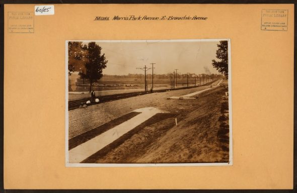 """Irma and Paul Milstein Division of United States History, Local History and Genealogy, The New York Public Library. """"Bronx: Morris Park Avenue - Bronxdale Avenue"""" The New York Public Library Digital Collections. Spring 1913"""